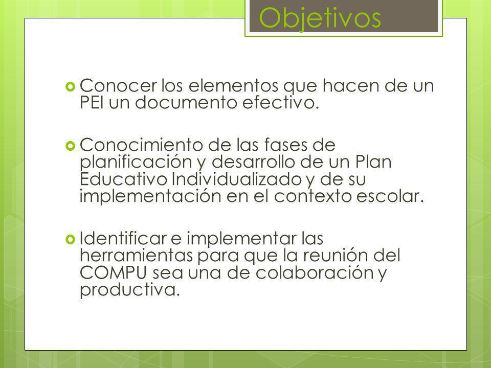 Objetivos Conocer los elementos que hacen de un PEI un documento efectivo.