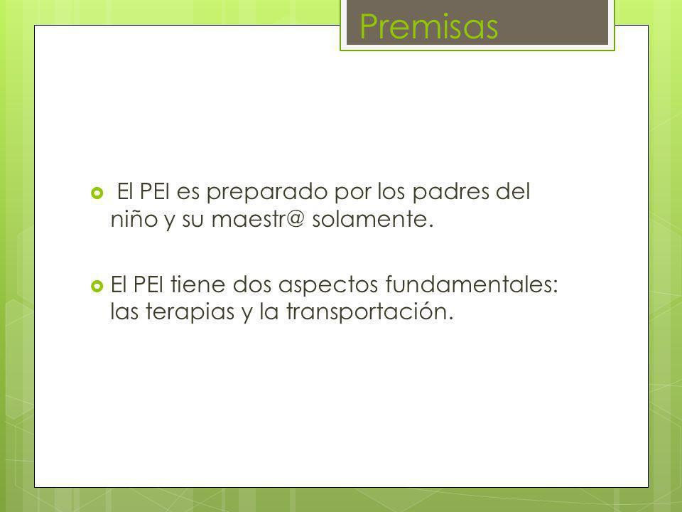 PremisasEl PEI es preparado por los padres del niño y su maestr@ solamente.