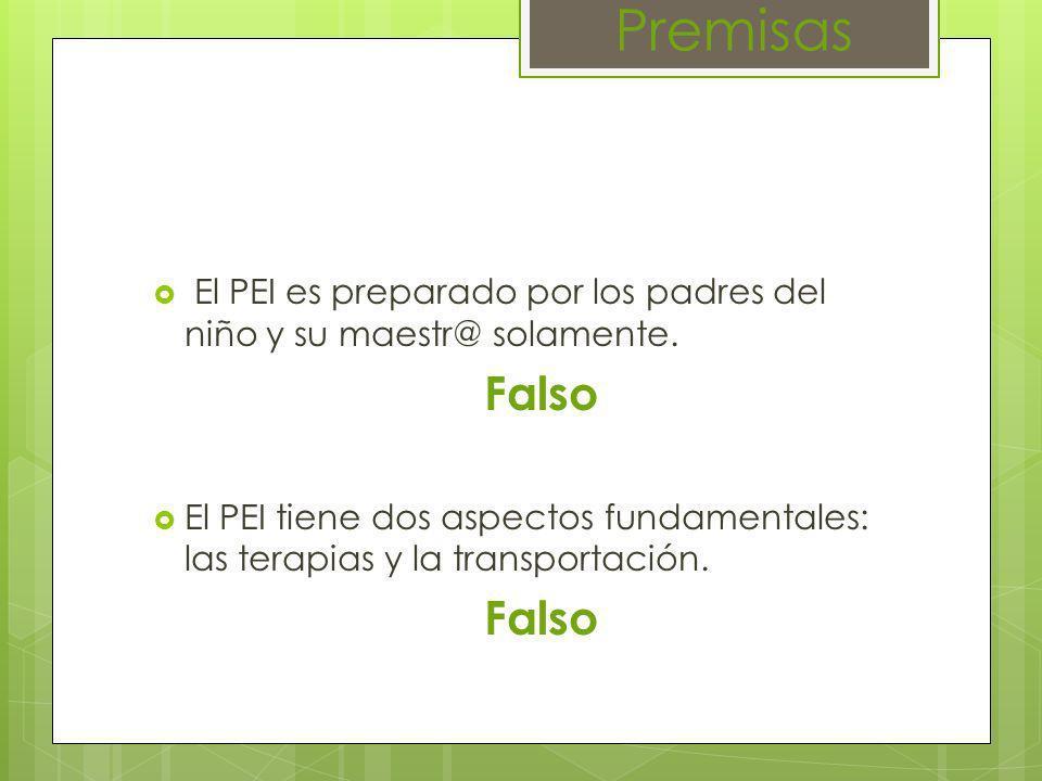 Premisas El PEI es preparado por los padres del niño y su maestr@ solamente. Falso.