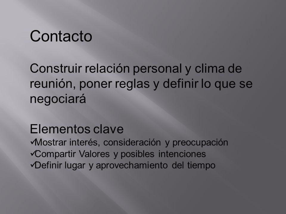 Contacto Construir relación personal y clima de reunión, poner reglas y definir lo que se negociará.
