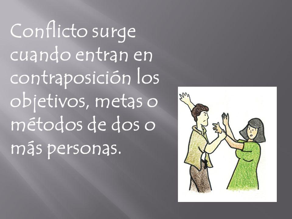 Conflicto surge cuando entran en contraposición los objetivos, metas o métodos de dos o más personas.