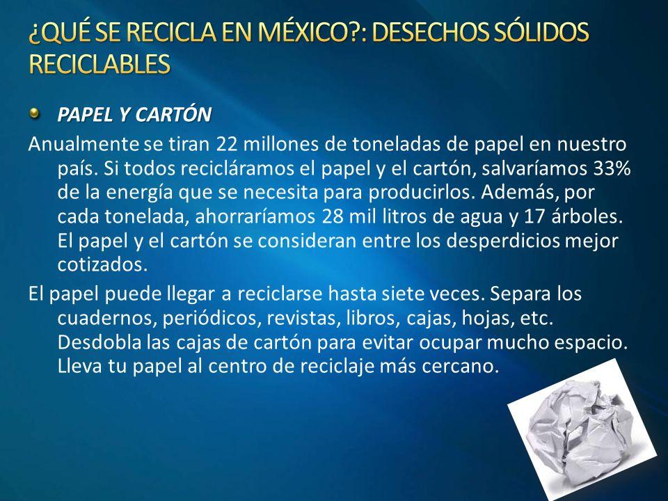 ¿QUÉ SE RECICLA EN MÉXICO : DESECHOS SÓLIDOS RECICLABLES