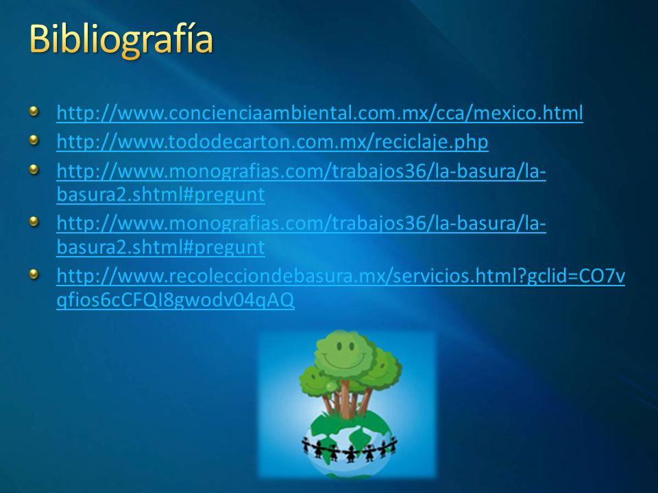 Bibliografía http://www.concienciaambiental.com.mx/cca/mexico.html