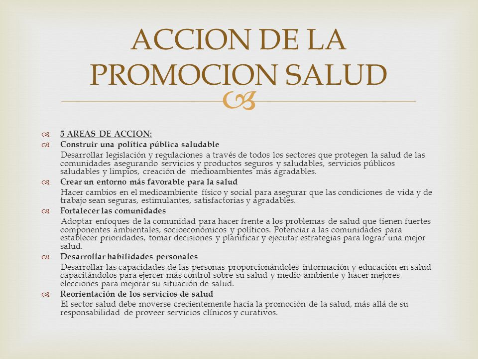 ACCION DE LA PROMOCION SALUD