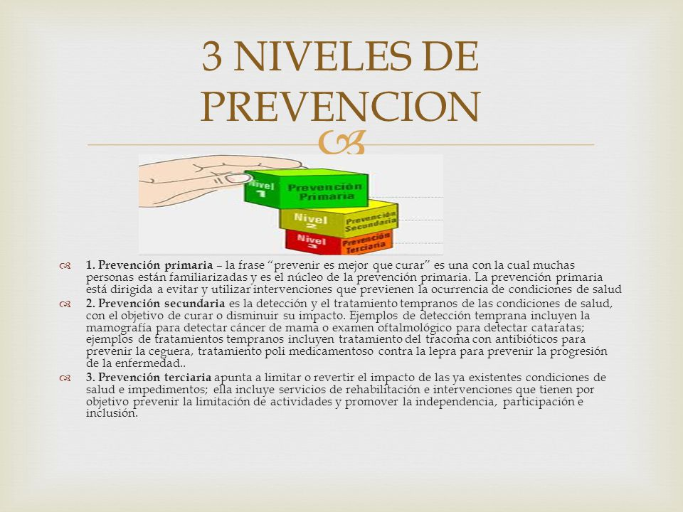 3 NIVELES DE PREVENCION