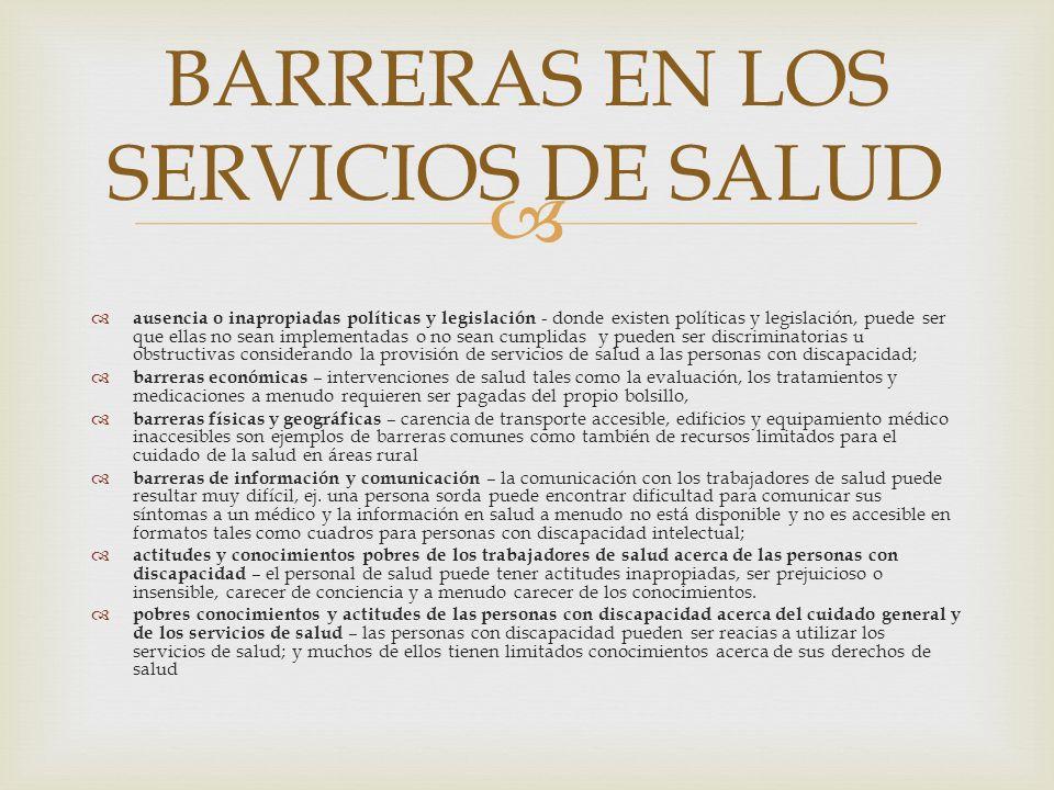 BARRERAS EN LOS SERVICIOS DE SALUD