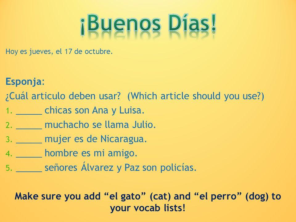 ¡Buenos Días! Hoy es jueves, el 17 de octubre. Esponja: ¿Cuál articulo deben usar (Which article should you use )