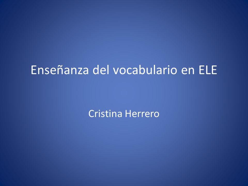 Enseñanza del vocabulario en ELE