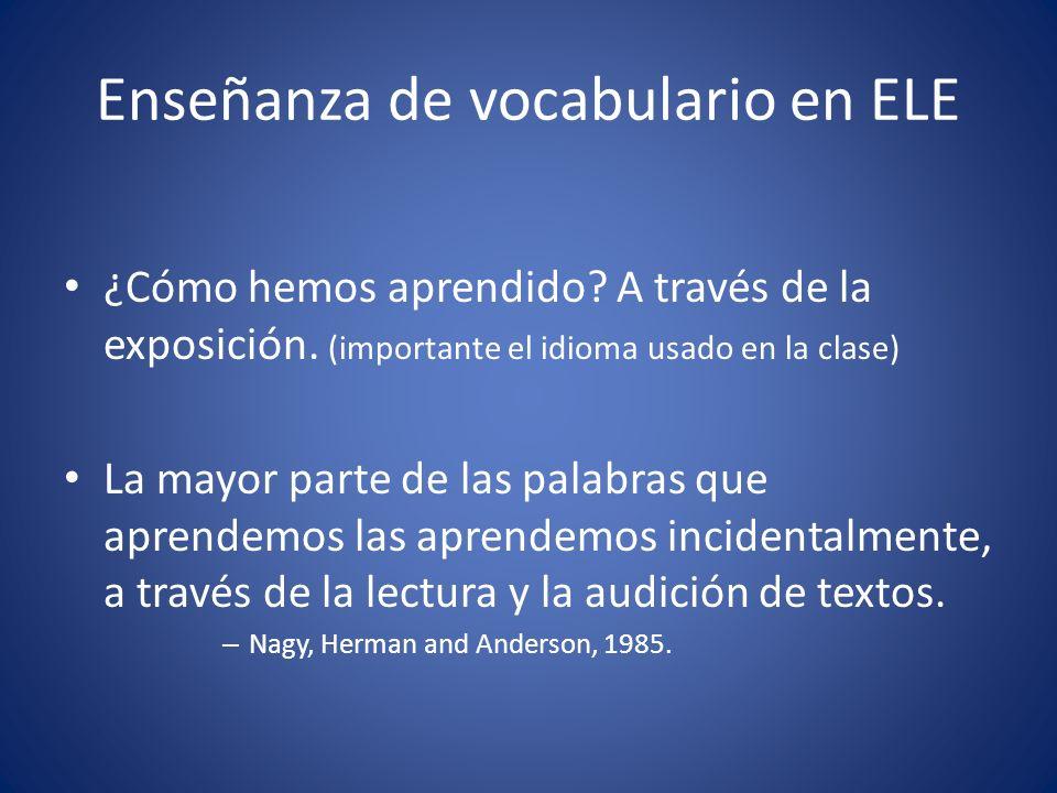 Enseñanza de vocabulario en ELE