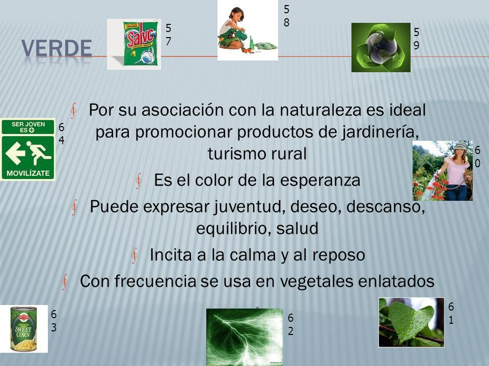 58 57. Verde. 59. Por su asociación con la naturaleza es ideal para promocionar productos de jardinería, turismo rural.