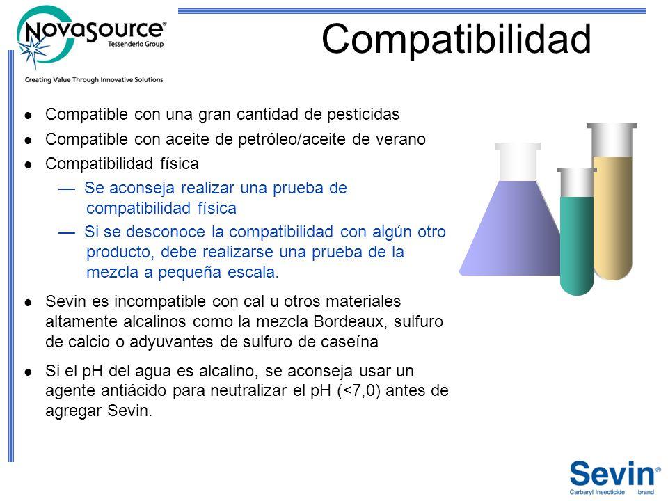 Compatibilidad Compatible con una gran cantidad de pesticidas