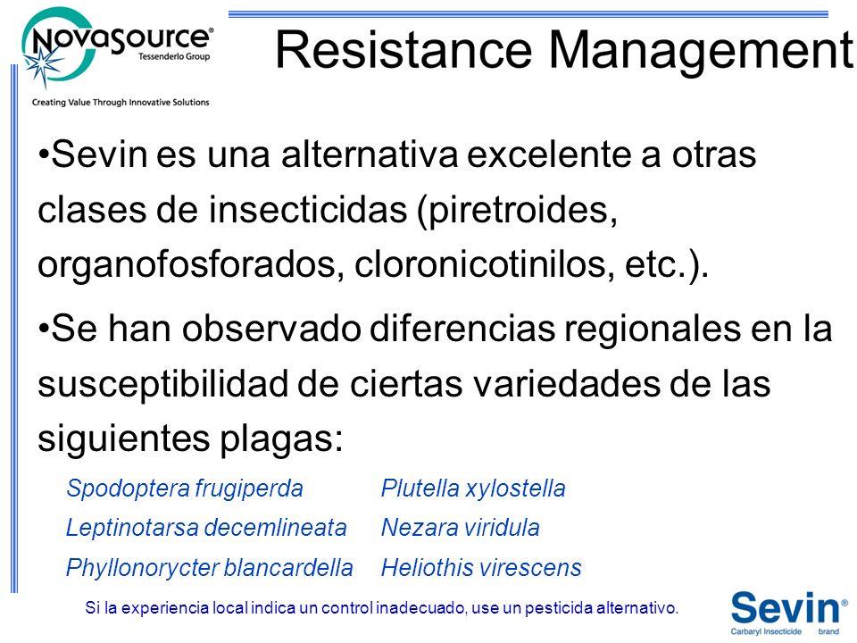 Sevin es una alternativa excelente a otras clases de insecticidas (piretroides, organofosforados, cloronicotinilos, etc.).