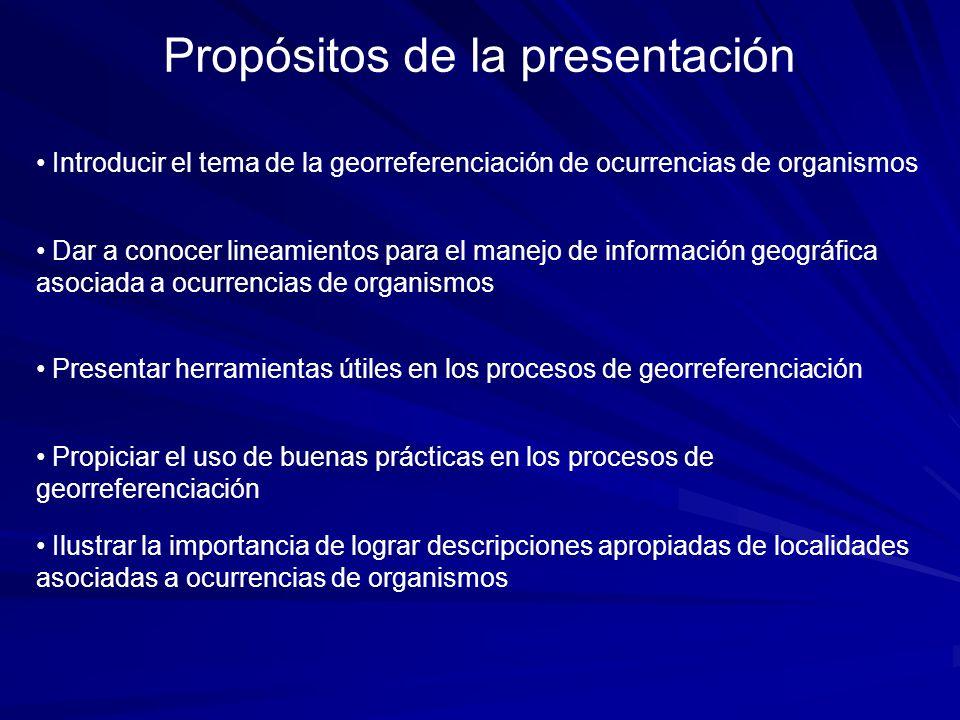 Propósitos de la presentación
