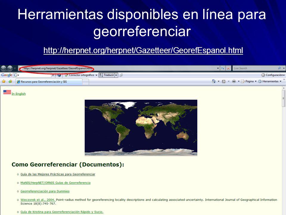 Herramientas disponibles en línea para georreferenciar