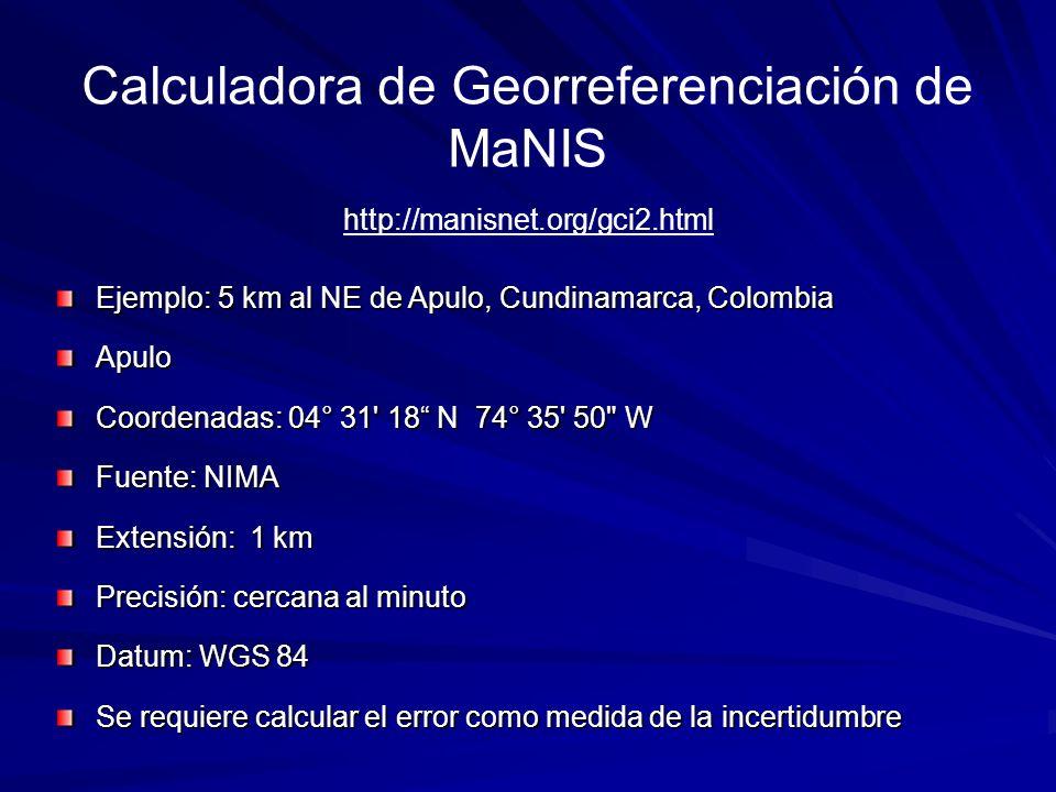 Calculadora de Georreferenciación de MaNIS