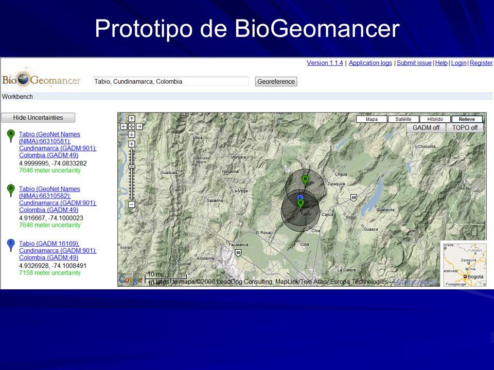 Prototipo de BioGeomancer