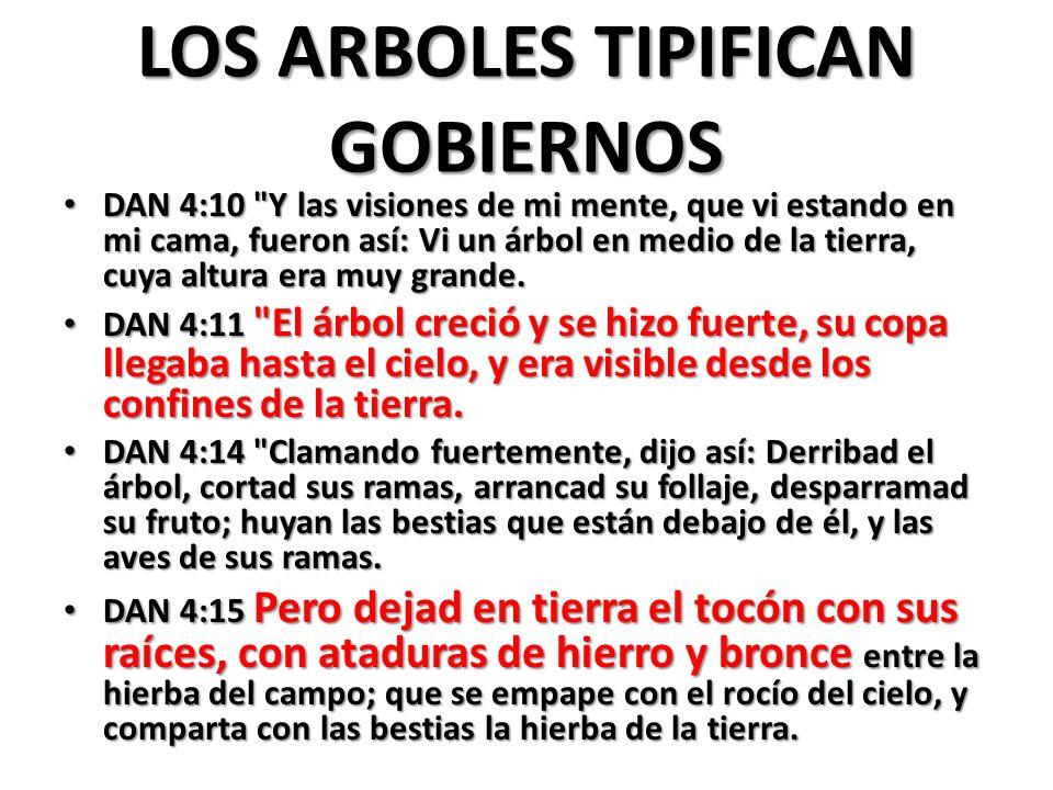 LOS ARBOLES TIPIFICAN GOBIERNOS
