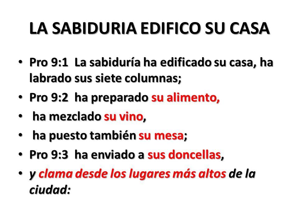 LA SABIDURIA EDIFICO SU CASA