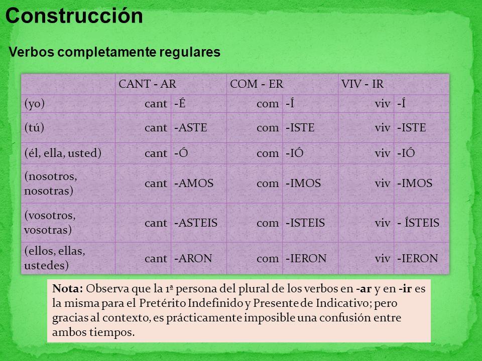 Construcción Verbos completamente regulares CANT - AR COM - ER