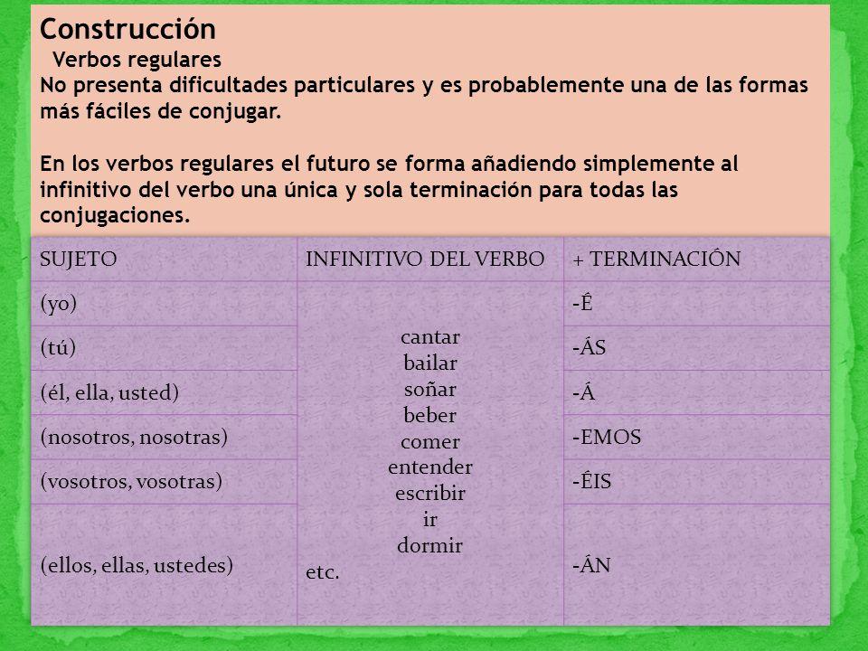 Construcción Verbos regulares
