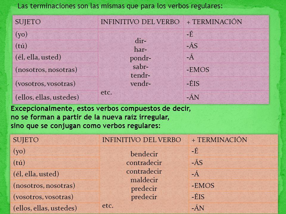 Las terminaciones son las mismas que para los verbos regulares:
