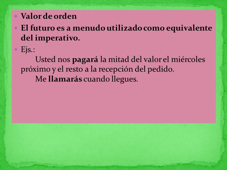 Valor de orden El futuro es a menudo utilizado como equivalente del imperativo.