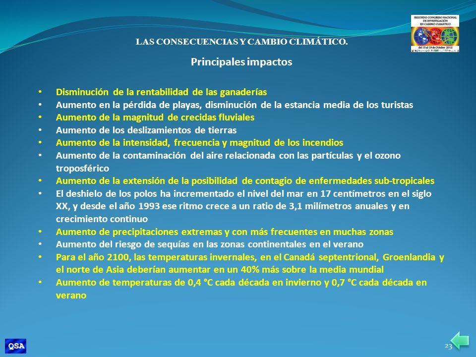 LAS CONSECUENCIAS Y CAMBIO CLIMÁTICO.