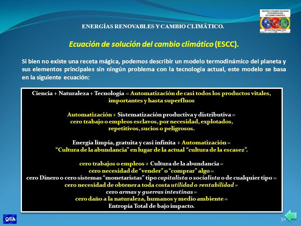 Ecuación de solución del cambio climático (ESCC).
