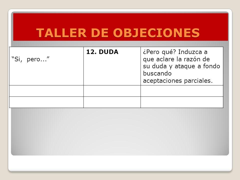 TALLER DE OBJECIONES Si, pero... 12. DUDA