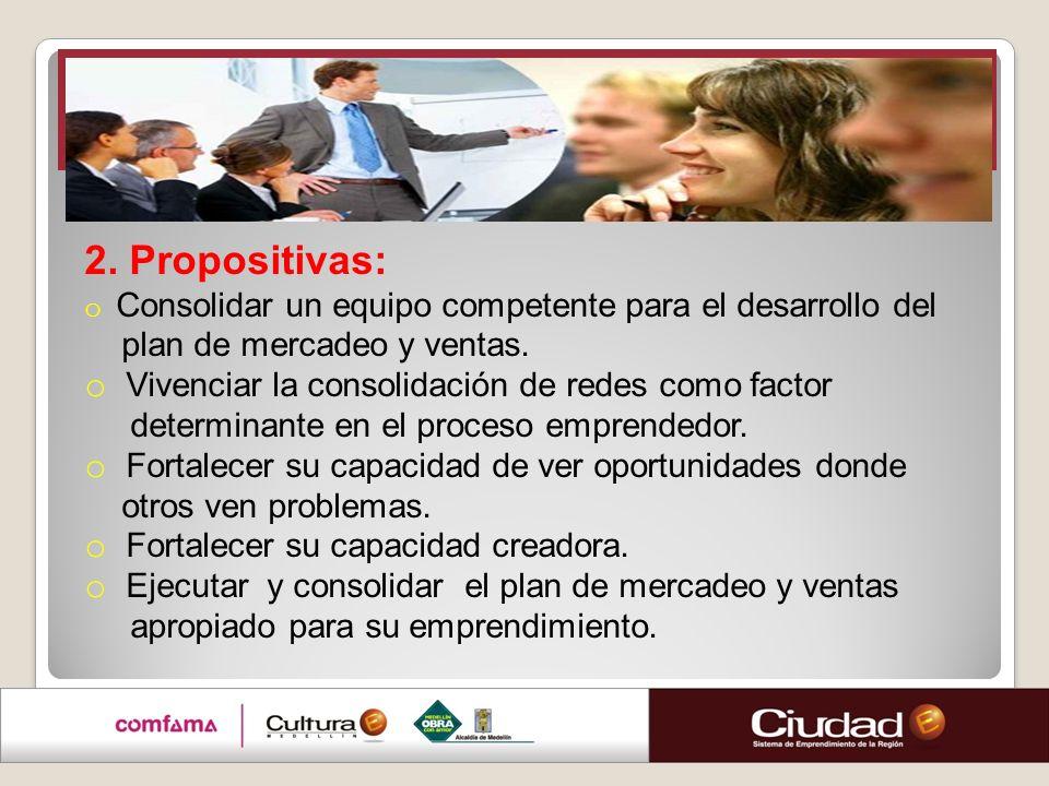 Clínica de ventas 2. Propositivas: plan de mercadeo y ventas.