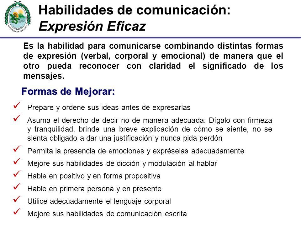 Habilidades de comunicación: Expresión Eficaz