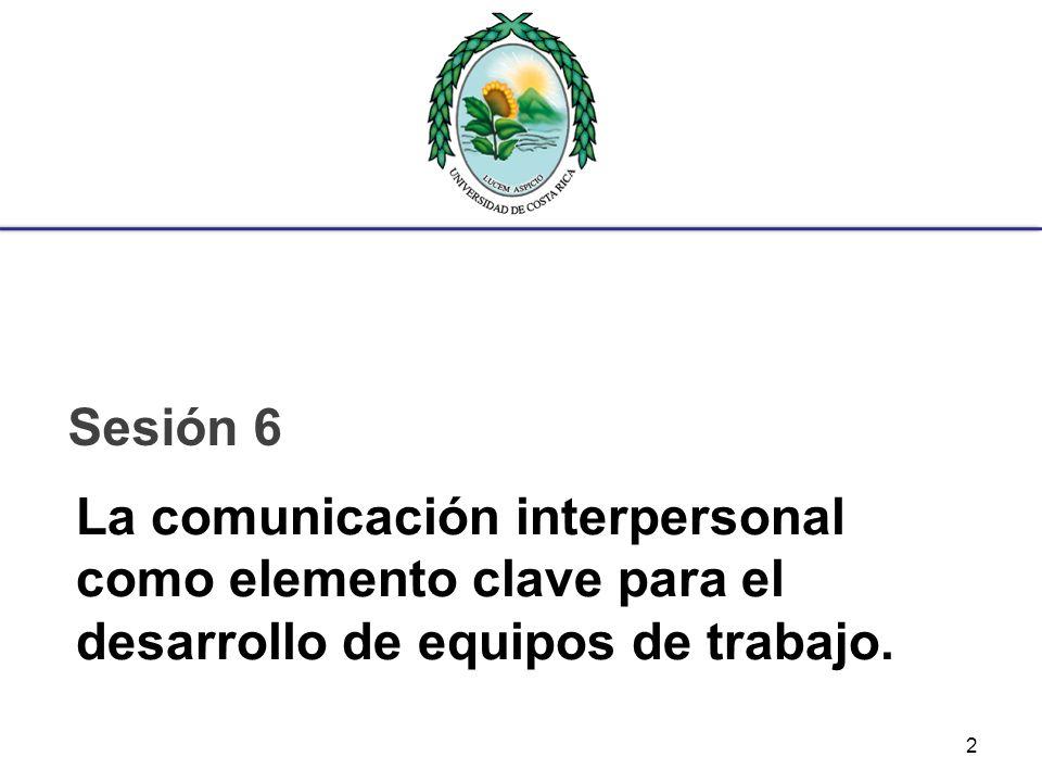 Sesión 6 La comunicación interpersonal como elemento clave para el desarrollo de equipos de trabajo.