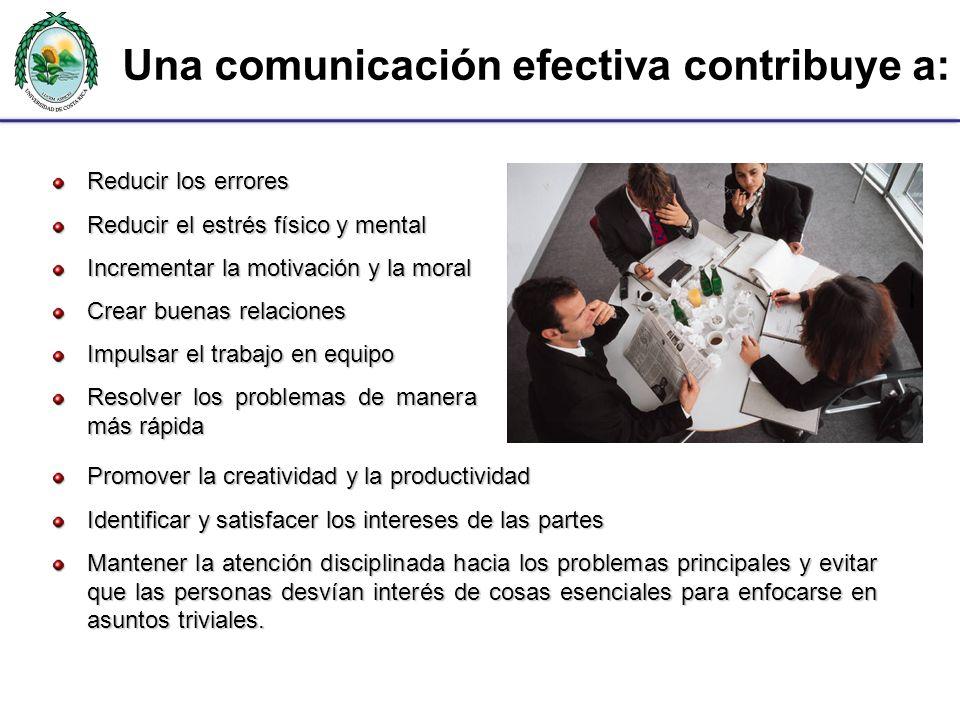 Una comunicación efectiva contribuye a: