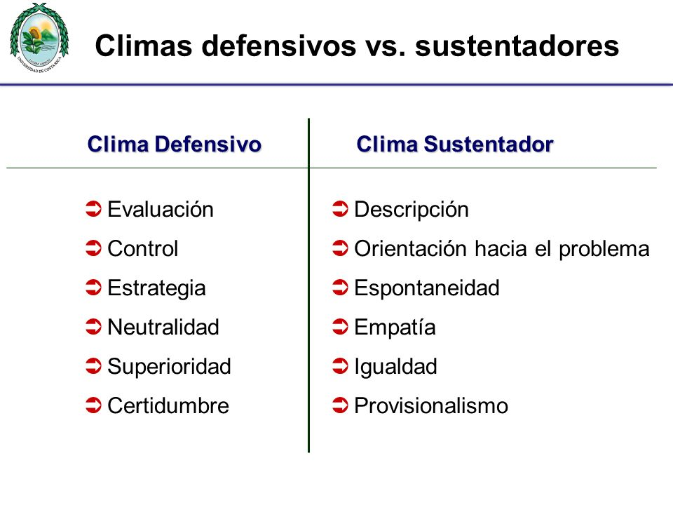 Climas defensivos vs. sustentadores