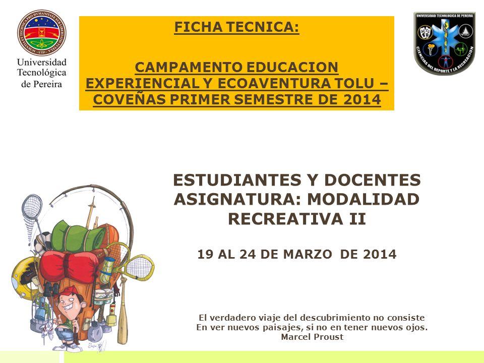 ESTUDIANTES Y DOCENTES ASIGNATURA: MODALIDAD RECREATIVA II
