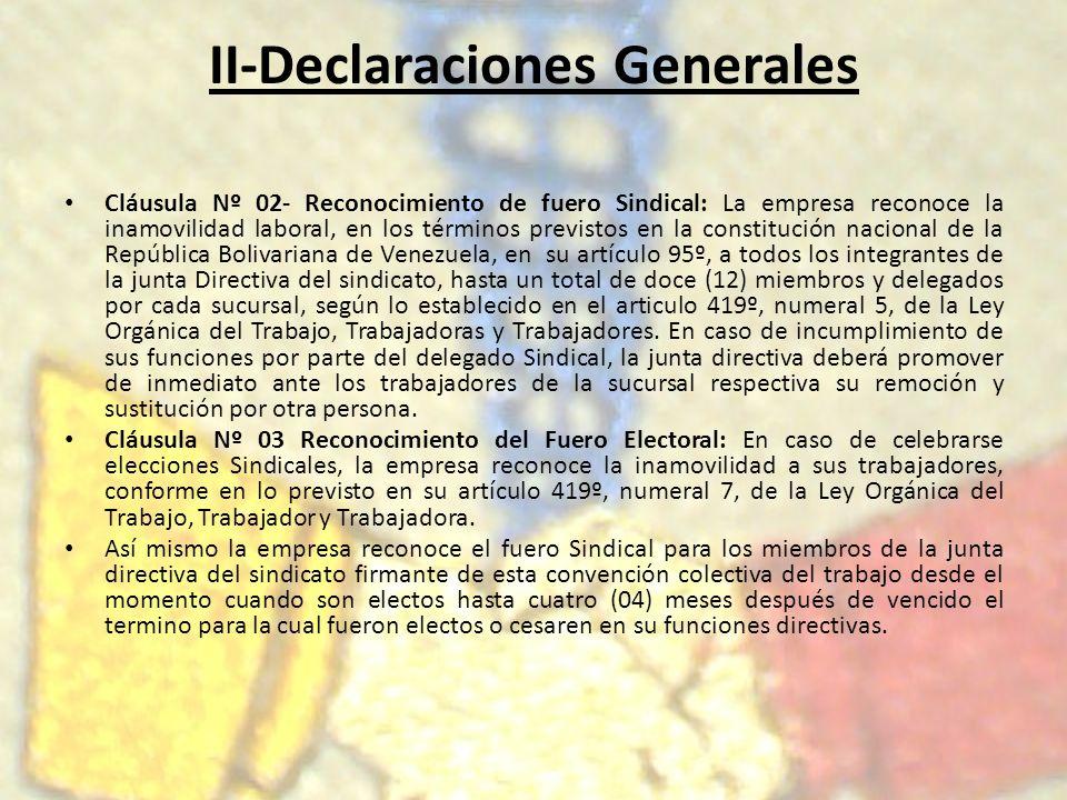II-Declaraciones Generales