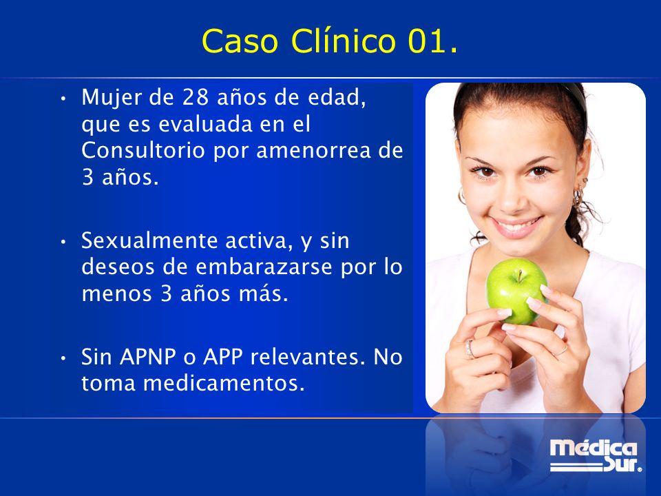 Caso Clínico 01. Mujer de 28 años de edad, que es evaluada en el Consultorio por amenorrea de 3 años.