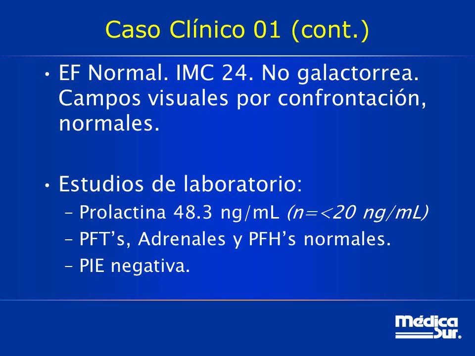 Caso Clínico 01 (cont.) EF Normal. IMC 24. No galactorrea. Campos visuales por confrontación, normales.
