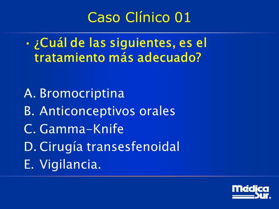 Caso Clínico 01 ¿Cuál de las siguientes, es el tratamiento más adecuado Bromocriptina. Anticonceptivos orales.