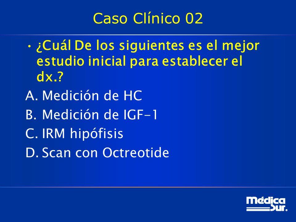 Caso Clínico 02 ¿Cuál De los siguientes es el mejor estudio inicial para establecer el dx. Medición de HC.
