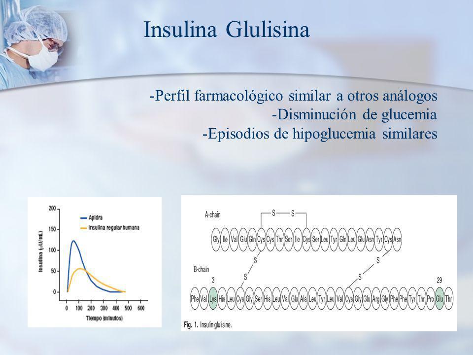 Insulina Glulisina Perfil farmacológico similar a otros análogos
