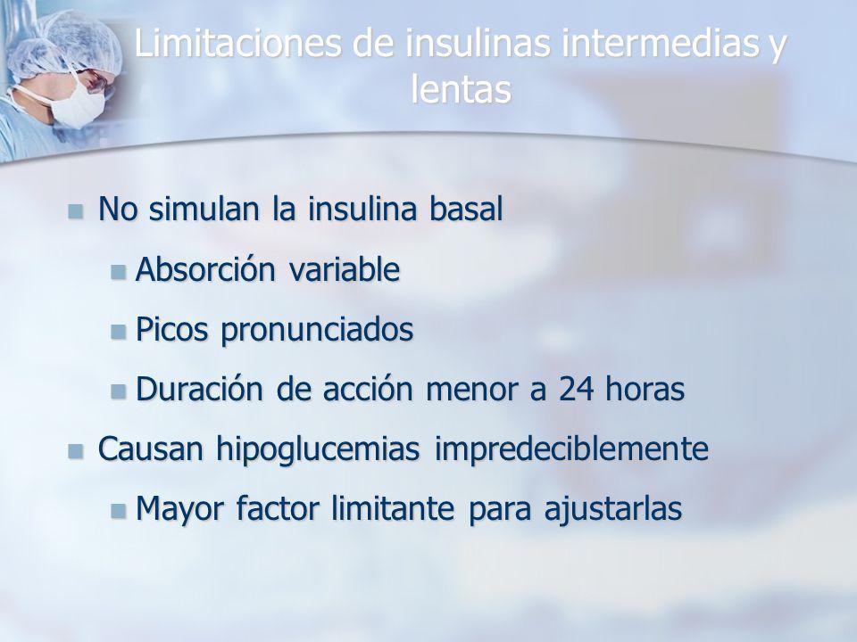 Limitaciones de insulinas intermedias y lentas