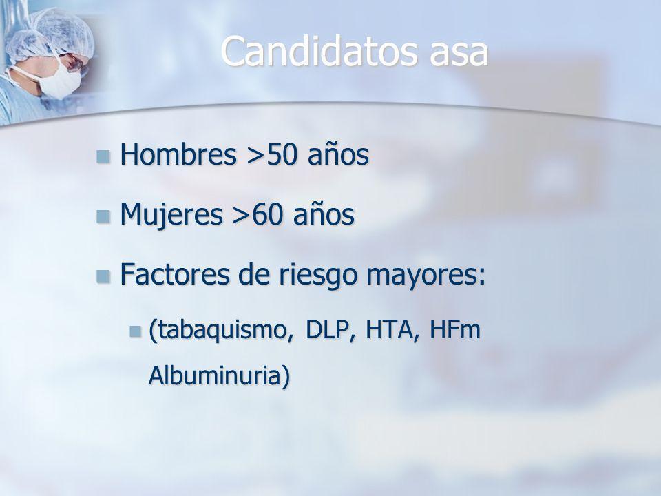 Candidatos asa Hombres >50 años Mujeres >60 años