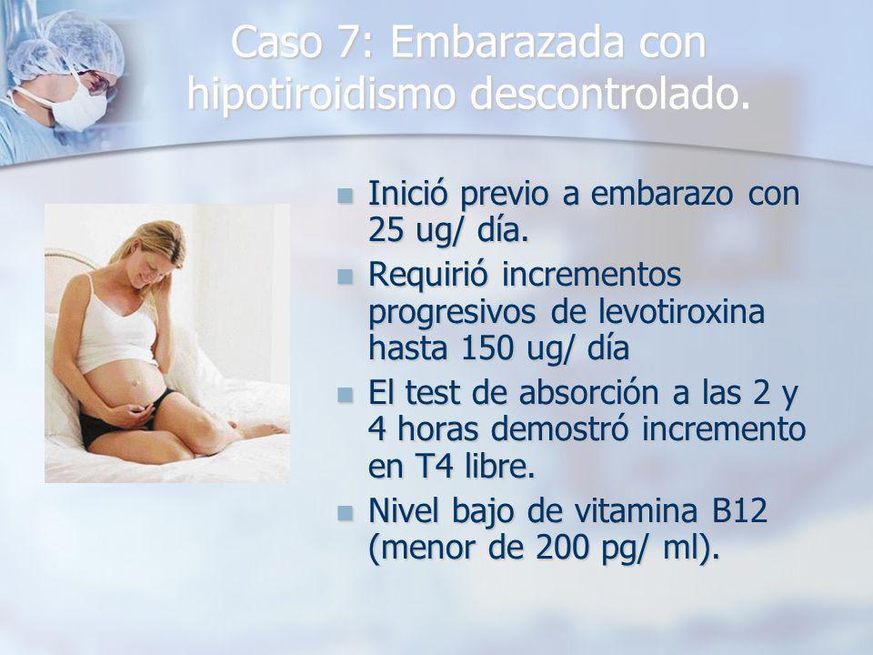 Caso 7: Embarazada con hipotiroidismo descontrolado.