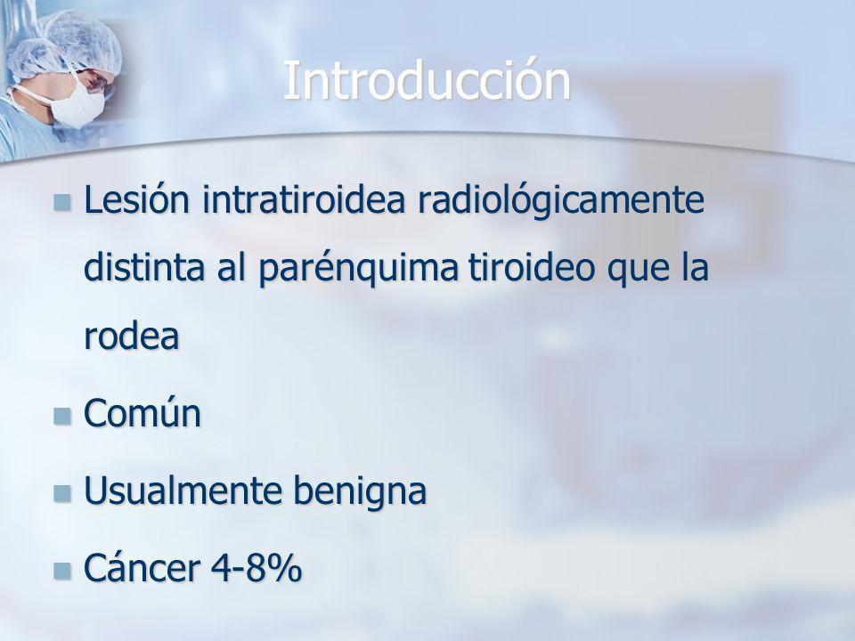 Introducción Lesión intratiroidea radiológicamente distinta al parénquima tiroideo que la rodea. Común.