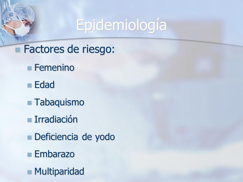 Epidemiología Factores de riesgo: Femenino Edad Tabaquismo Irradiación