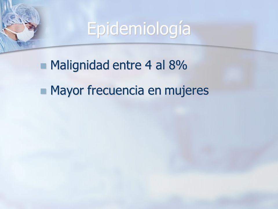 Epidemiología Malignidad entre 4 al 8% Mayor frecuencia en mujeres