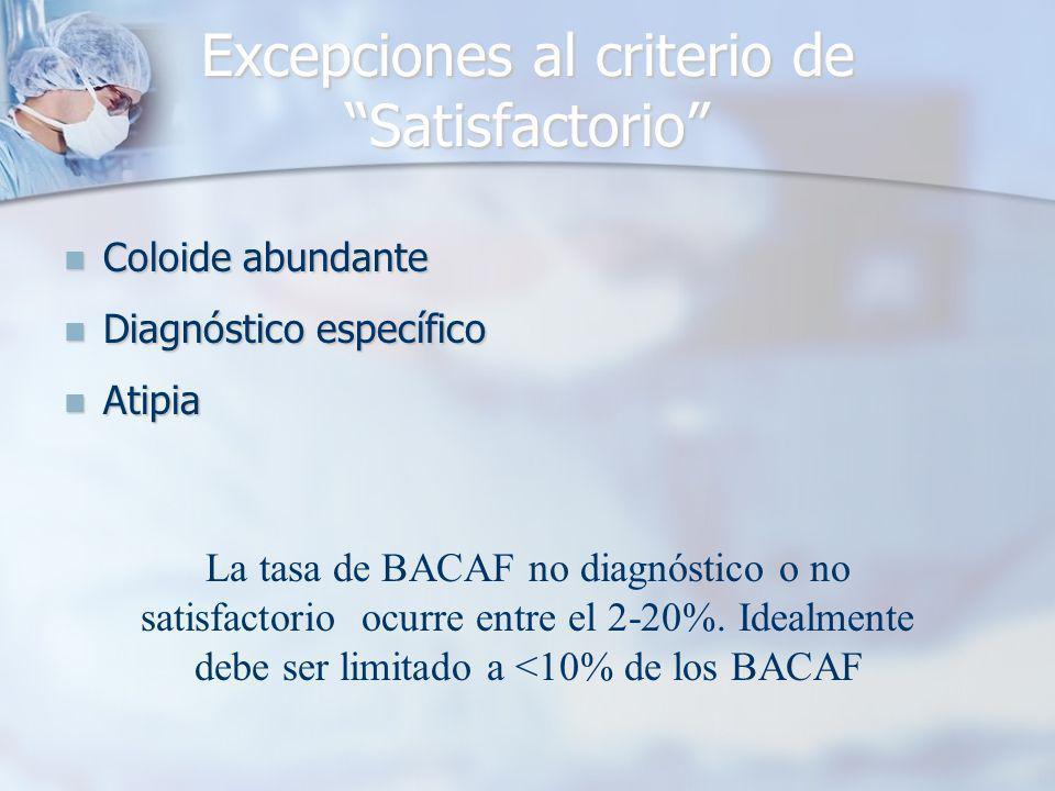 Excepciones al criterio de Satisfactorio