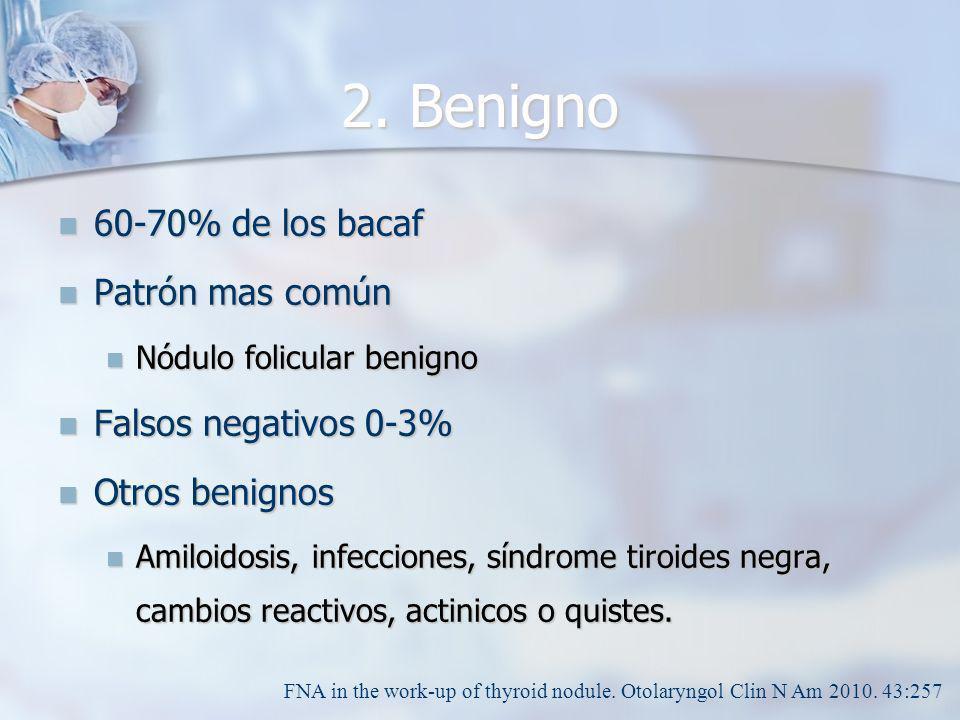 2. Benigno 60-70% de los bacaf Patrón mas común Falsos negativos 0-3%