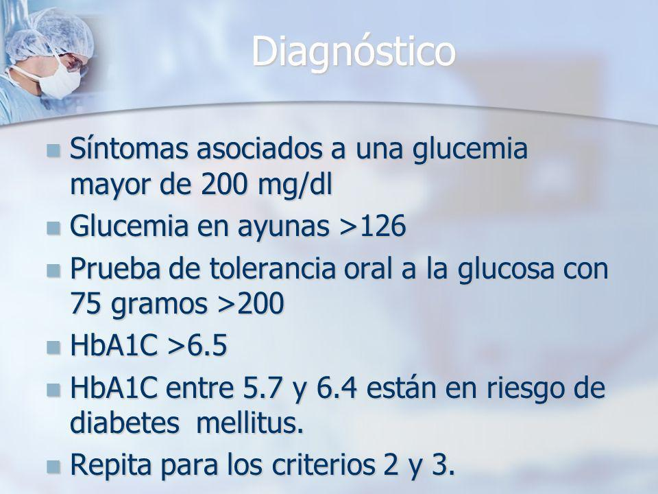 Diagnóstico Síntomas asociados a una glucemia mayor de 200 mg/dl